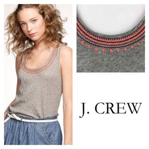 J. Crew Grey Racerback Tank Embroidered with Beads